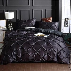 Faux Silk Satin Pleated Duvet Cover Set, Twin Size